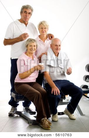 Older Group Of Friends In The Gym