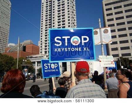 Protesters Hold Large Signs Saying 'stop Keystone Xl' On Howard Street During Protest