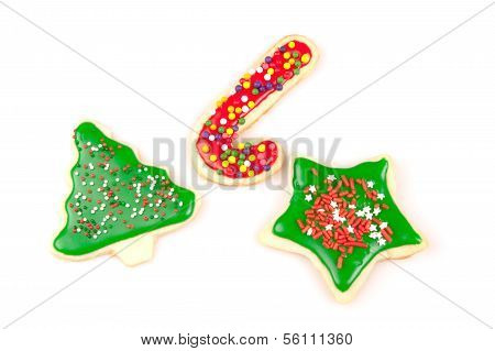 Multiple frosted butter Christmas cookies