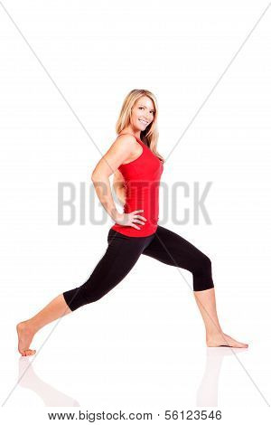 Portrait of pretty young woman doing exercise