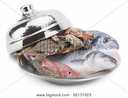 Seafood in Silver Restaurant Cloche    poster