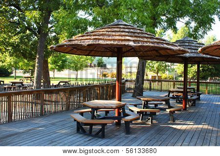 Straw roofs of a picnic area