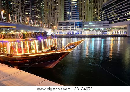 Dubai, Uae - September 11: The Night Illumination Of Dubai Marina And Dhow Boat On September 11, 201