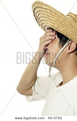 Asian peasant with regret expression and straw hat on white poster