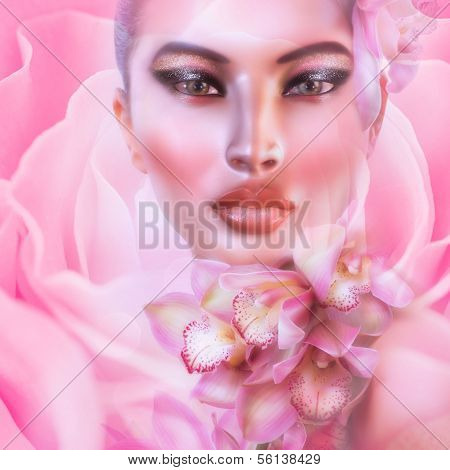 Abstract pink floral with womans face