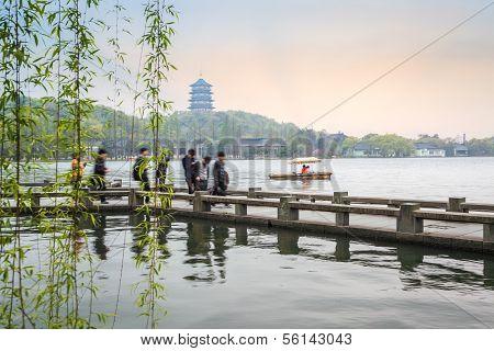 Beautiful Hangzhou West Lake Scenery In Spring