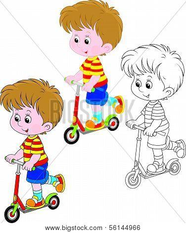 Boy scooterist