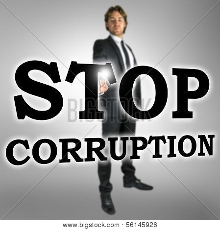 Businessman choosing Stop corruption icon on virtual interface. poster