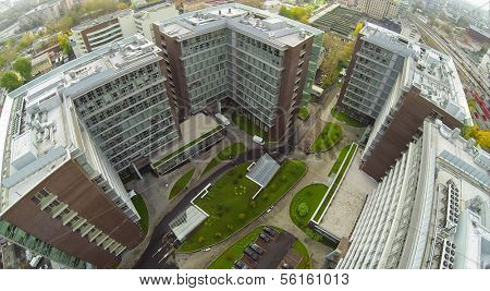 MOSCOW - OCT 10: ( UAV view)  Office and hotel complex Vivaldi Plaza with green lawns on October 10, 2013 in Moscow, Russia.