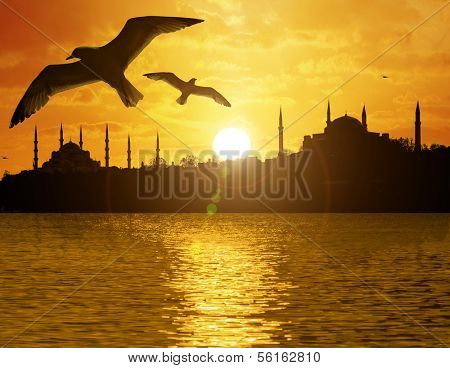 Istanbul view with historic peninsula