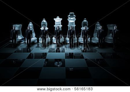 Glass chess board - Businessman peasants site