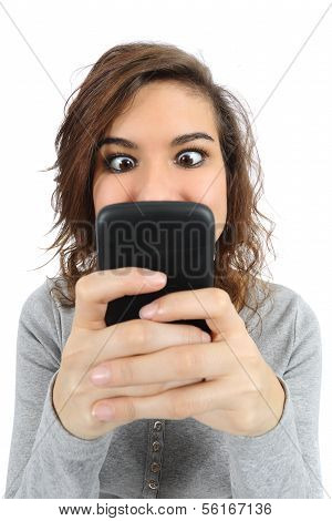 Close Up Of A Teenager Addicted To The Smart Phone