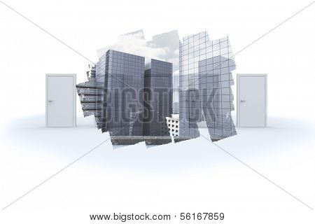 Abstract screen in room showing cityscape poster