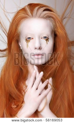 Redhead Woman With Futuristic Make-up. Fantasy