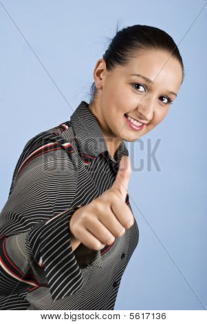 Young Business Woman Give Thumbs Up