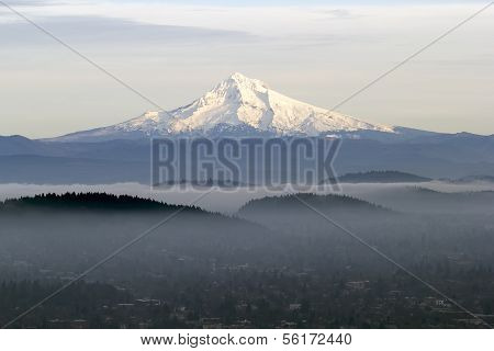 Mount Hood With Low Fog In The Valley