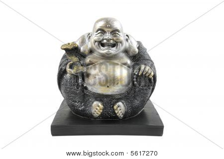 Buddha statue Poe-Tai Ho-Shang also known as smiling Buddha or big belly buddha isolated on white background poster
