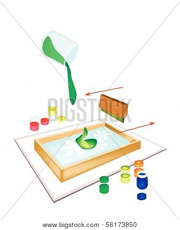 A Squeegee Screen Printing On A Tile