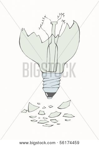 Hand drawn concept - broken light bulb