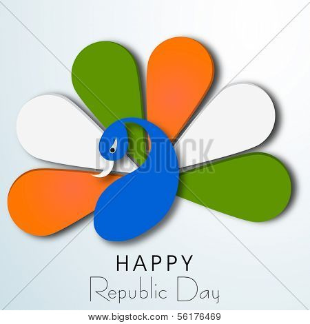 Happy Indian Republic Day concept with nation bird peacock in flag colors on blue background.