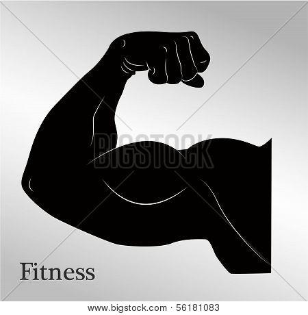 Cartoon biceps man's arm muscles