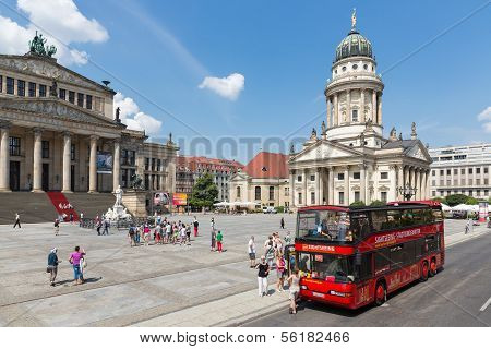 Berlin, Germany - July 25:  A Sightseeing Bus With Tourists Is Visiting The Gendarmenmarkt Mit Franz
