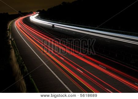 Light trails on a motorway at night