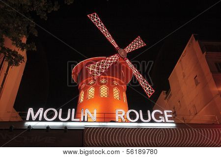 PARIS, FRANCE - MAY 17: Red windmill of famous nightclub Moulin Rouge May 17, 2010 in Paris, France