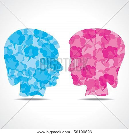 Creative male and female face of message bubble