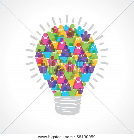 Creative light-bulb of colorful male and female icon