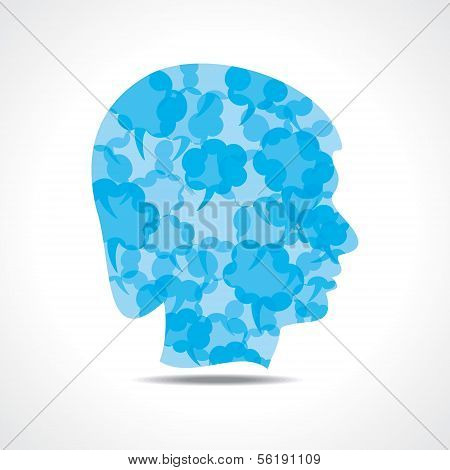 Creative male face of blue message bubble