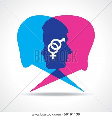 Male and female face make speech bubble