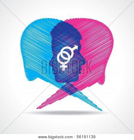 Sketched male and female face make speech bubble