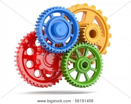 Perpetuum mobile. Color gears on white isolated background. 3d