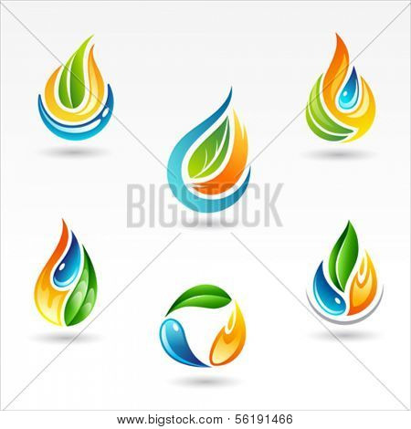 Set of six vector design of element representing fire water and life