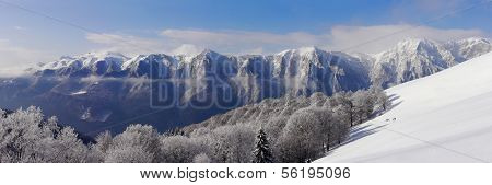 Bucegi mountains panorama in winter-Romania