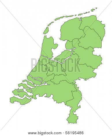 A stylized map of the Netherlands in green tone showing the different provinces. All isolated  on white background.
