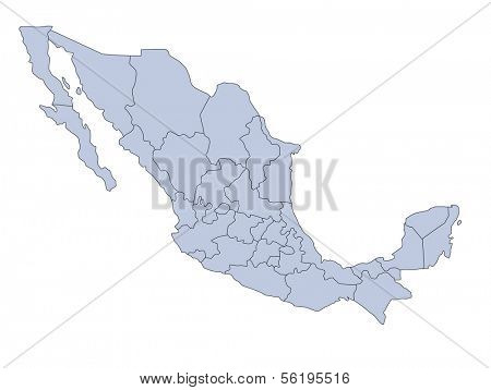 A stylized map of mexico showing the different provinces. All isolated on white background.