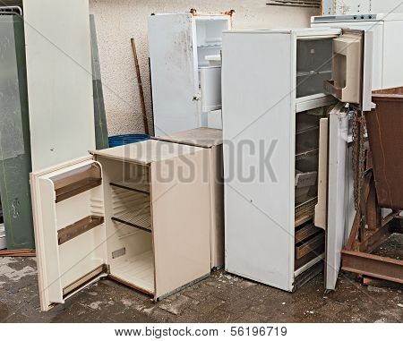 hazardous waste - broken fridges containing cfc danger to the ozone poster
