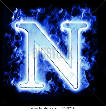 Burning Letter with Cold Blue flames - Ice Flame Alphabet poster