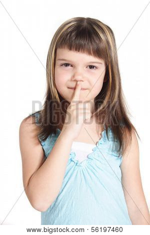 A young girl requests silence. All isolated on white background.