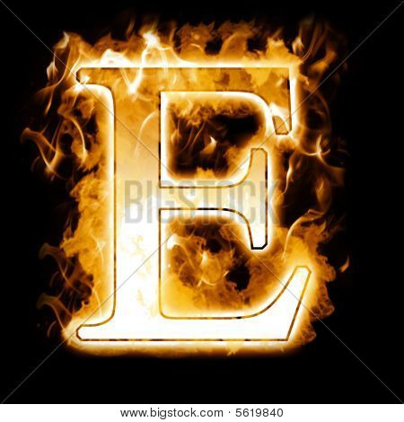 Hot Burning Letter with High detailed Flames