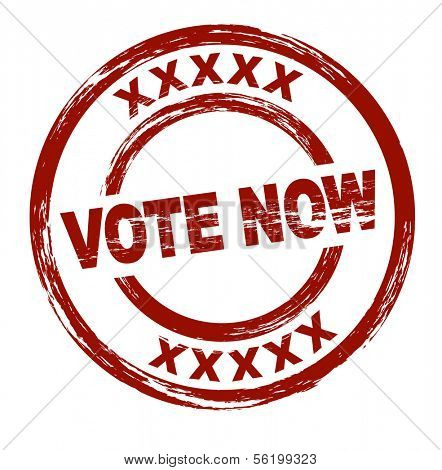 A stylized red stamp that shows the term vote now. All on white background.