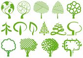 Environment symbols. Simple icons of trees on a white background poster
