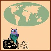 Cute Owl with suitcases in cartoon stile, vector illustration to the concept of tourism. Globe siluet in the background. poster