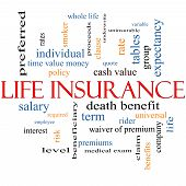 Life Insurance Word Cloud Concept with great terms such as term whole life rider quote and more. poster