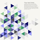 Pastel colorful vector background with empty space. Grey, navy, blue, mint green and violet triangle geometric mosaic card document template. Hipster flat surface design aztec chevron zigzag print poster