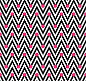 Black and White Horizontal Chevron Striped with Polka Dots Background that is seamless and repeats poster