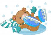 Illustration of cute bear fell to the ice rink. Raster version.  poster