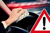 Caution! Driving under the influence of medications and/or alcohol can be dangerous. poster